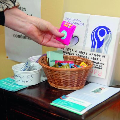 Free condoms and pregnancy tests are available